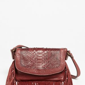 Sac à main Abaco Studio Joe franges python bordeaux