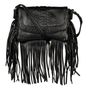 Sac à main Abaco Studio Joe franges python noir