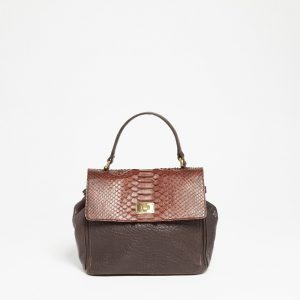 Sac à main Abaco Studio Mini Lou python marron